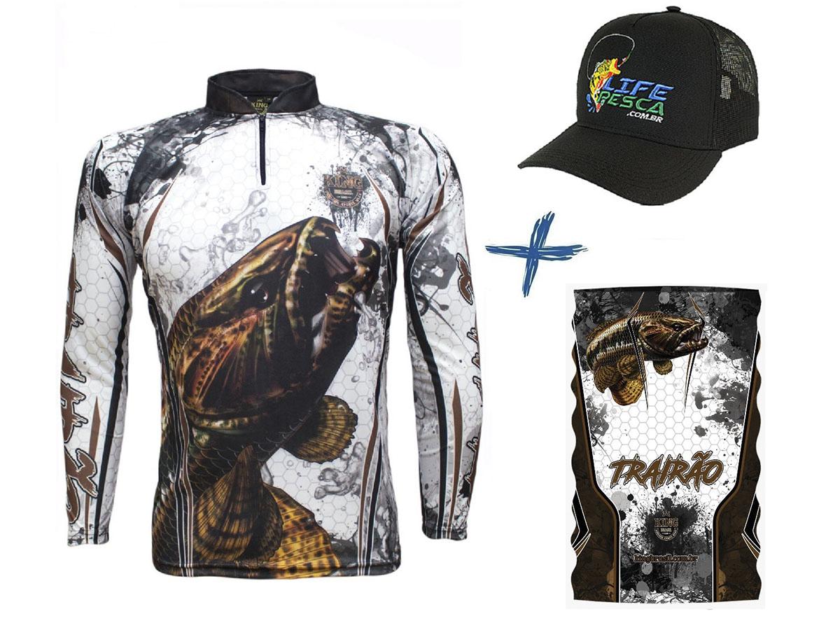 Camiseta De Pesca King Proteção Solar Uv KFF300 Traíra + Bandana + Boné
