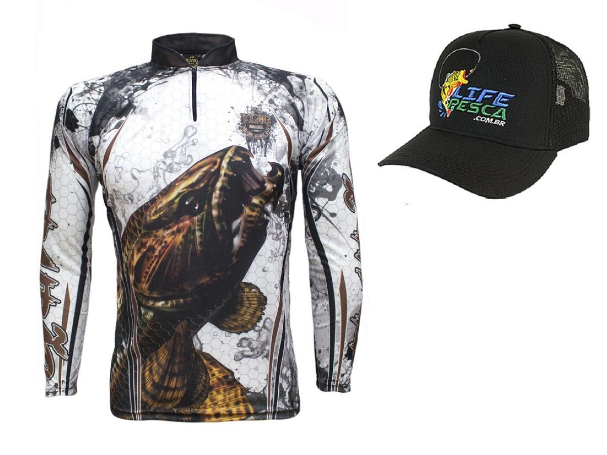 Camiseta De Pesca King Proteção Solar Uv KFF300 Traíra + Boné