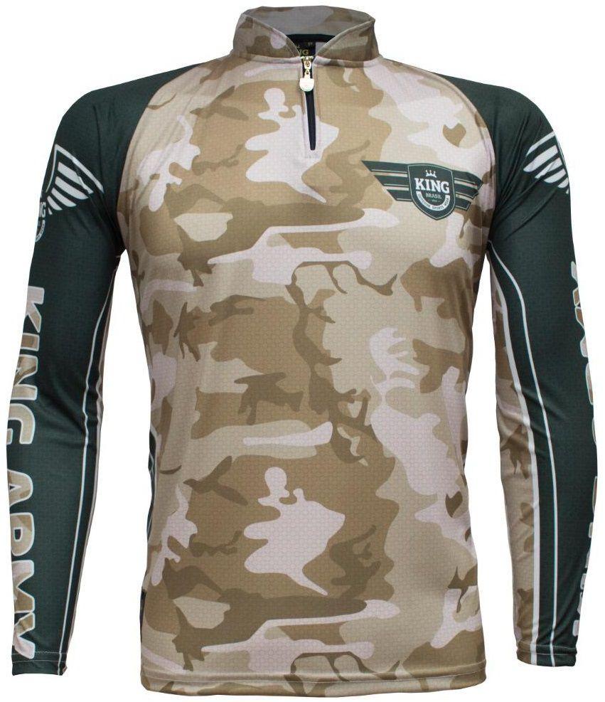 Camiseta De Pesca King Proteção Solar Uv KFF301 - Army