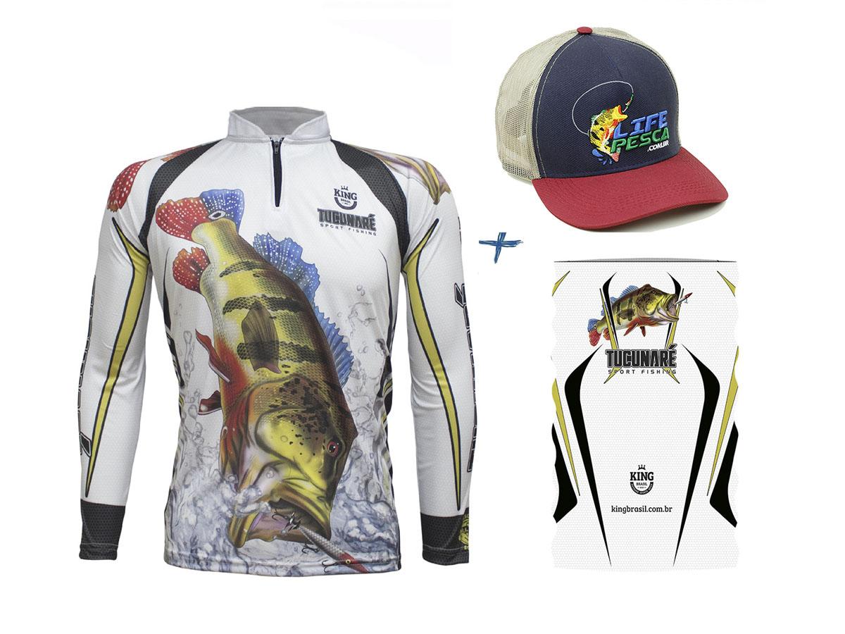 Camiseta De Pesca King Proteção Solar Uv KFF302 Tucunaré + Bandana + Boné