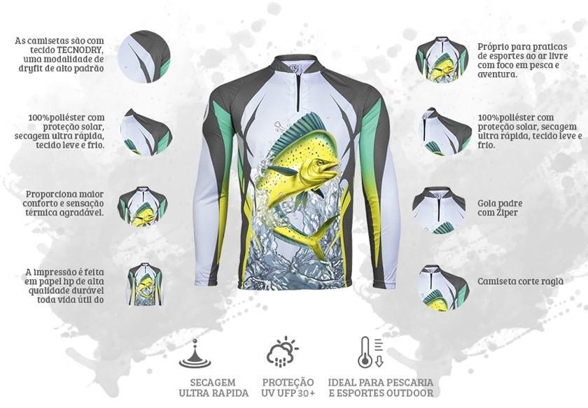 Camiseta De Pesca King Proteção Solar Uv KFF49 - Dourado Mar  - Life Pesca - Sua loja de Pesca, Camping e Lazer