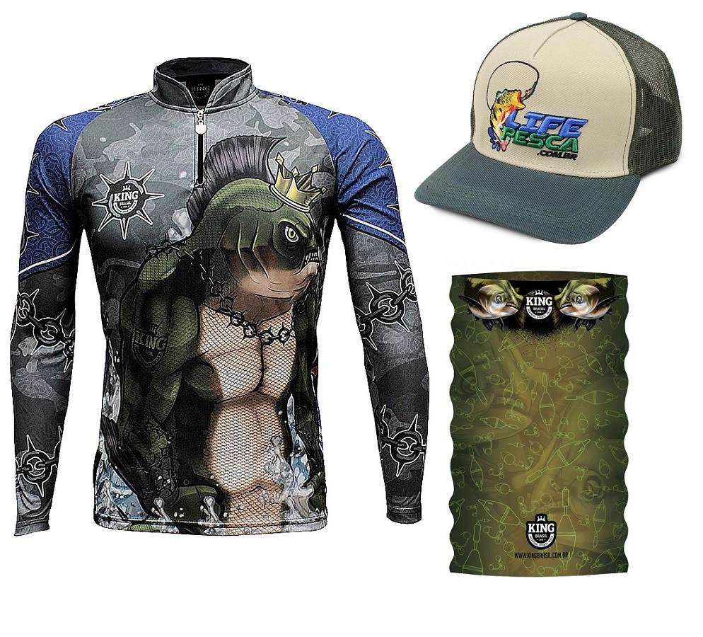 Camiseta De Pesca King Proteção Solar Uv KFF501 + Bandana + Boné