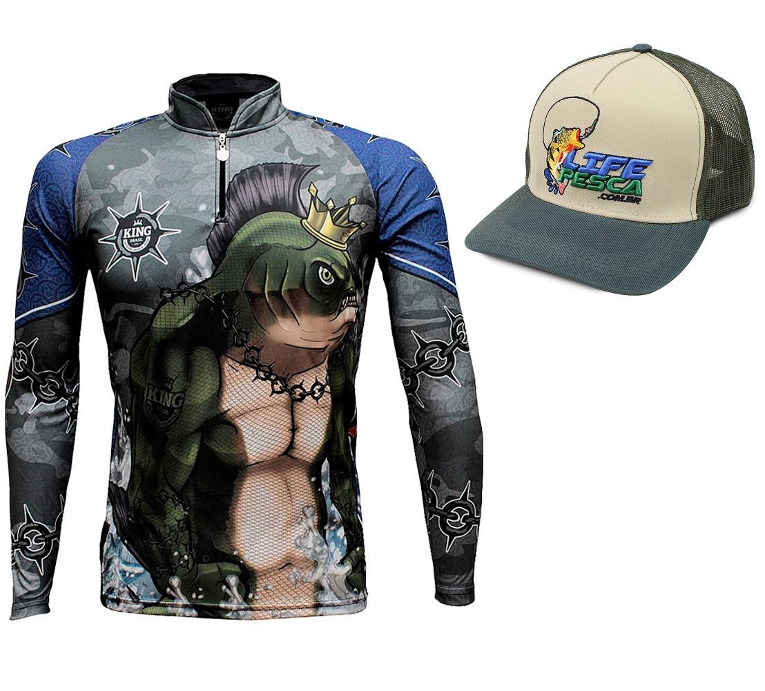 Camiseta De Pesca King Proteção Solar Uv KFF501 + Boné