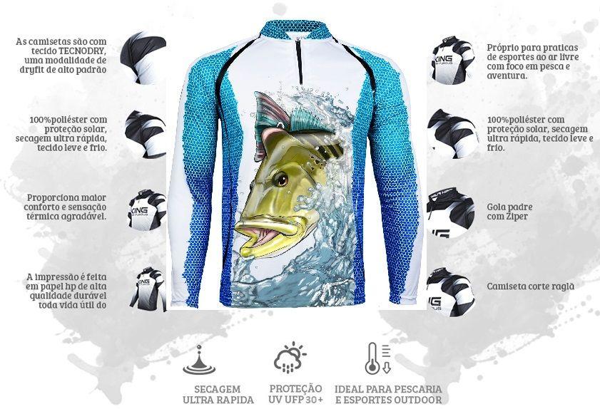 Camiseta De Pesca King Proteção Solar Uv KFF57 - Tucunaré  - Life Pesca - Sua loja de Pesca, Camping e Lazer