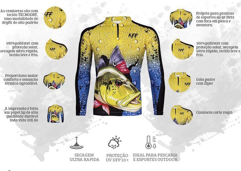 Camiseta De Pesca King Proteção Solar Uv KFF60 - Tucunaré  - Life Pesca - Sua loja de Pesca, Camping e Lazer