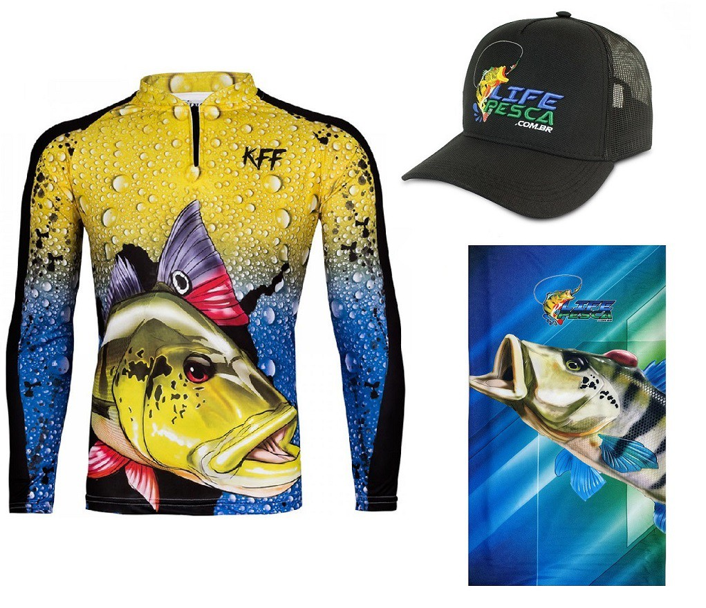 Camiseta De Pesca King Proteção Solar Uv KFF60 Tucunaré + Bandana + Boné