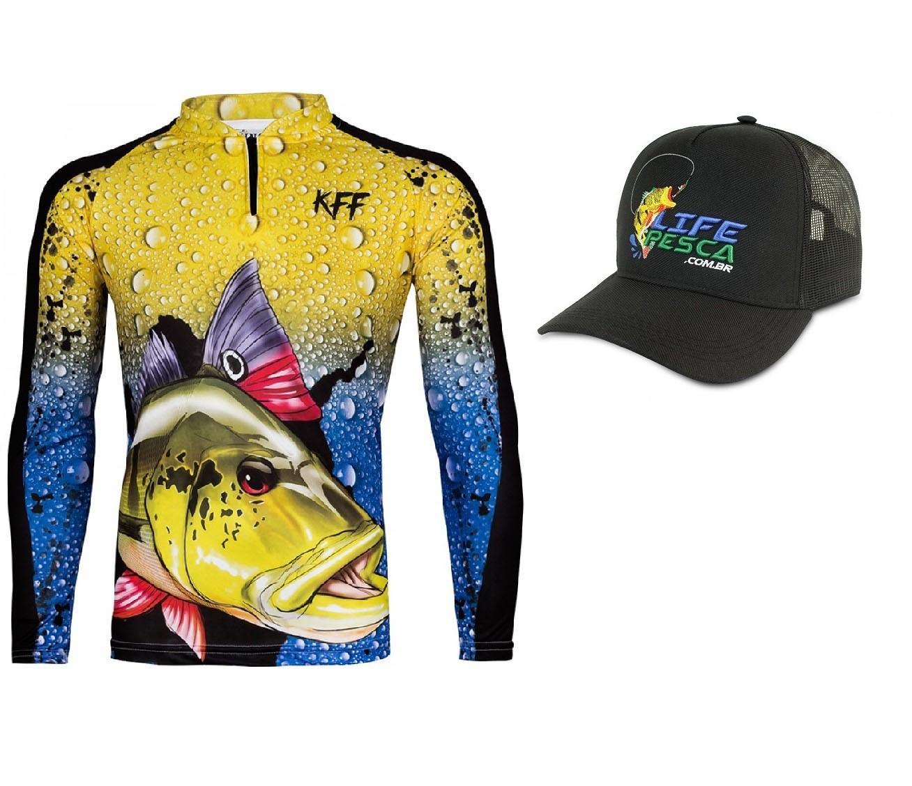 Camiseta De Pesca King Proteção Solar Uv KFF60 Tucunaré + Boné
