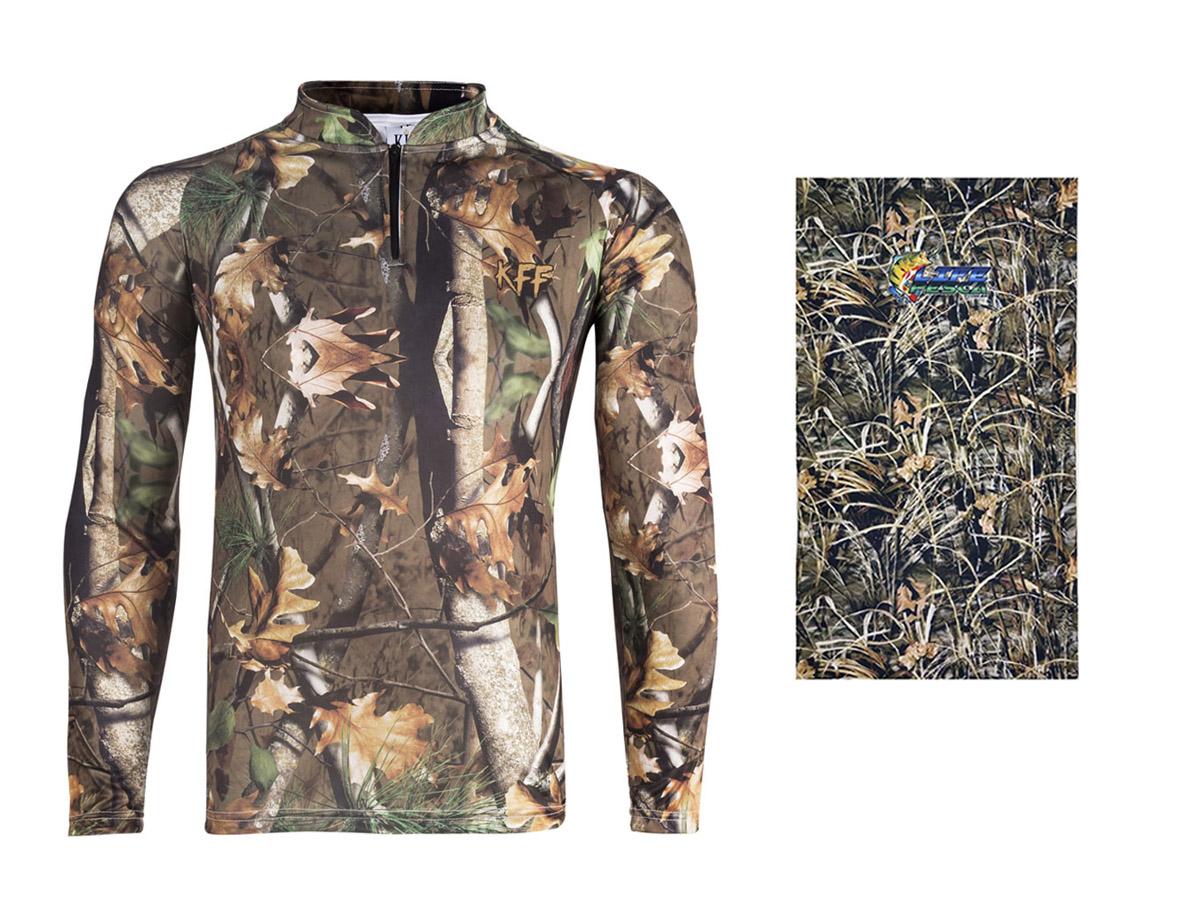 Camiseta De Pesca King Proteção Solar Uv KFF69 Foliage + Bandana