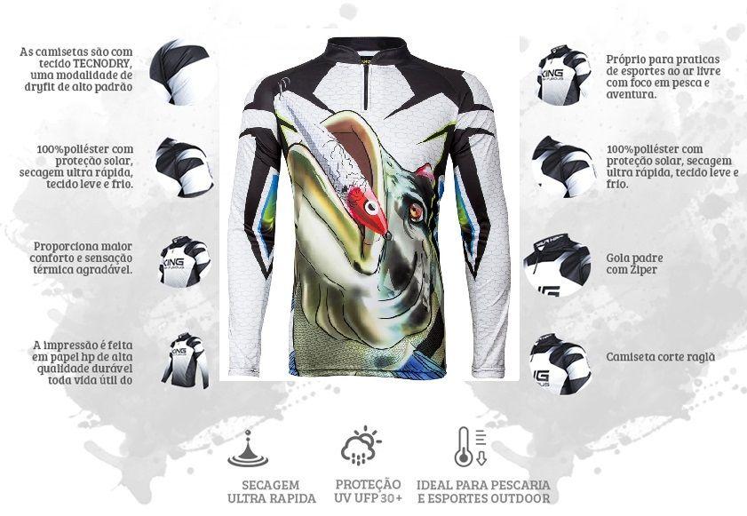 Camiseta De Pesca King Proteção Solar Uv Viking 01 - Tucunaré  - Life Pesca - Sua loja de Pesca, Camping e Lazer