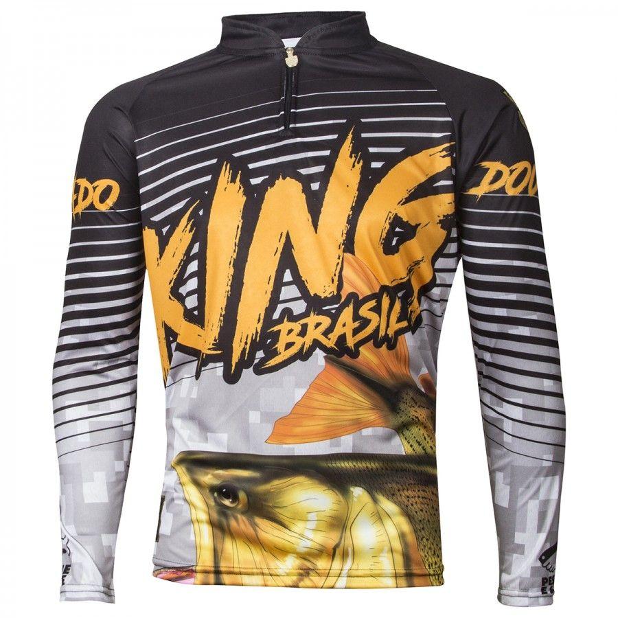 Camiseta De Pesca King Proteção Solar Uv Viking 03 - Dourado