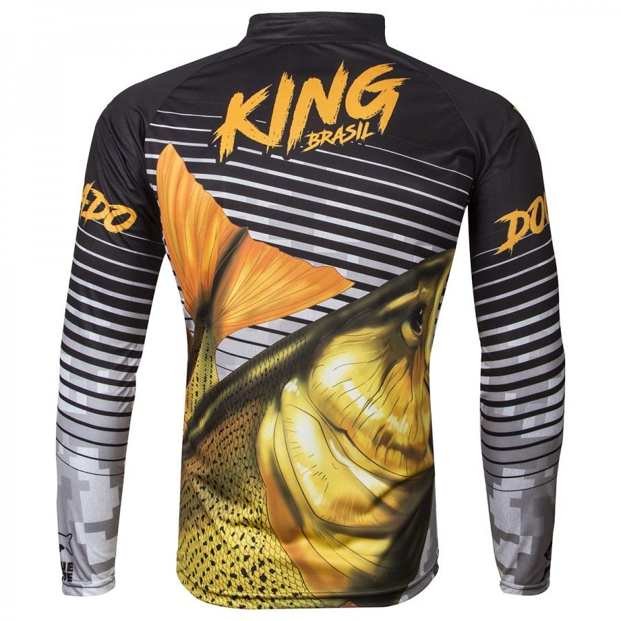 Camiseta De Pesca King Proteção Solar Uv Viking 03 - Dourado  - Life Pesca - Sua loja de Pesca, Camping e Lazer