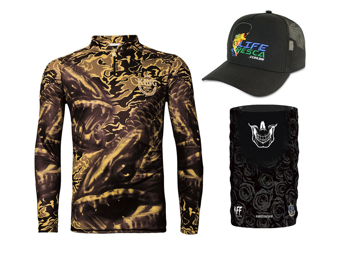 Camiseta De Pesca King Proteção Solar Uv Viking 04 Trairão + Bandana + Boné
