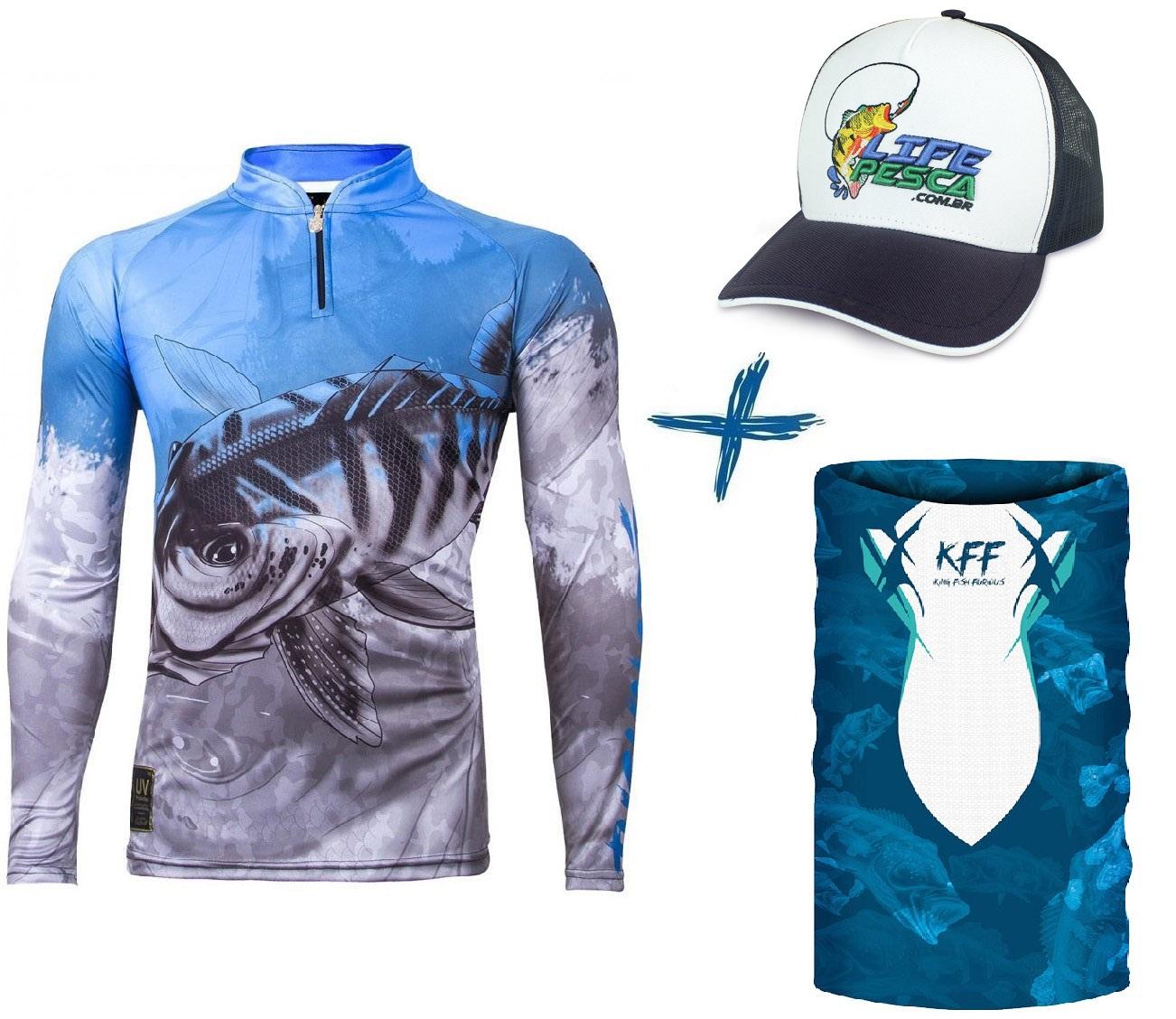 Camiseta De Pesca King Proteção Solar Uv Viking 06 Tucunaré + Boné + Bandana