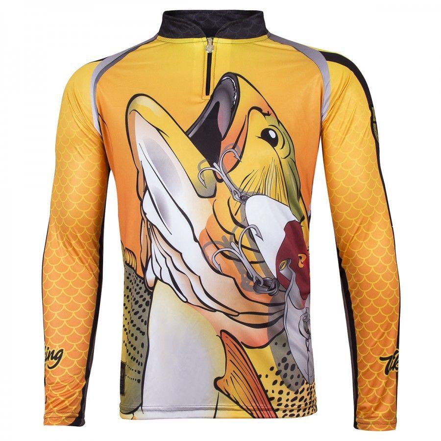 Camiseta De Pesca King Proteção Solar Uv Viking 12 - Dourado