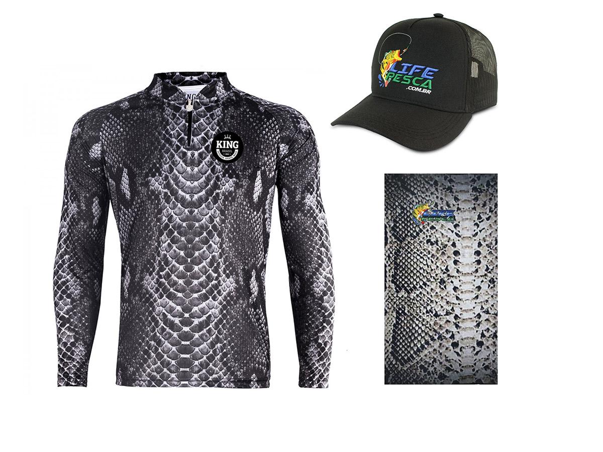 Camiseta De Pesca King Proteção Solar Uv Viking 17 Pele Cobra + Boné + Bandana