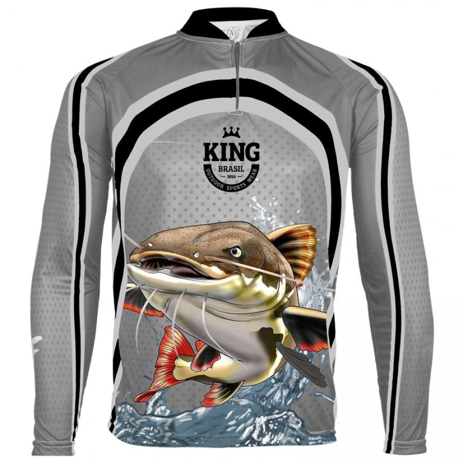Camiseta De Pesca King Proteção Solar Uv Viking 18 - Pirarara