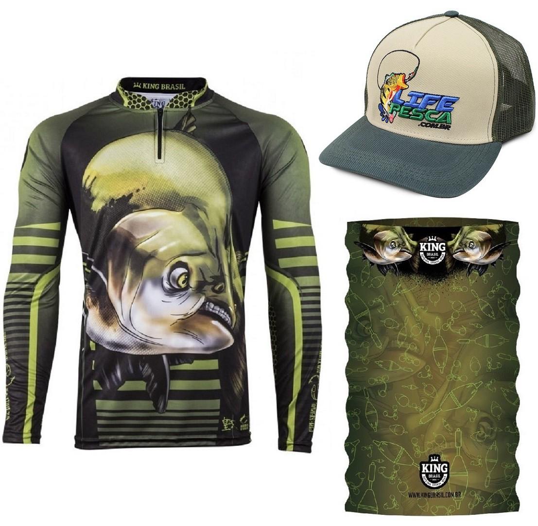 Camiseta De Pesca King Proteção Solar Uv Viking 19 + Bandana + Boné