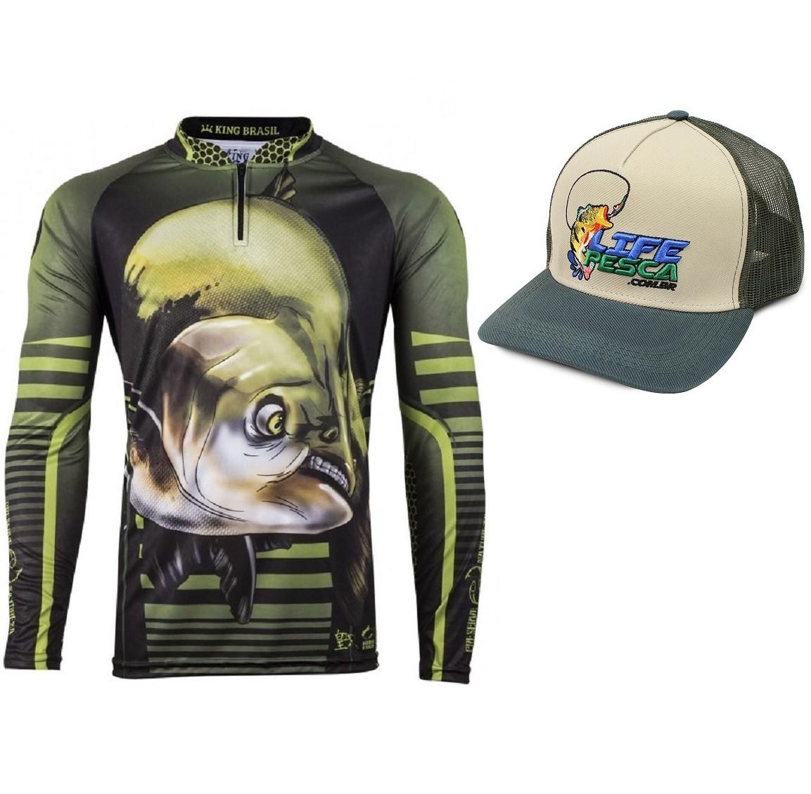 Camiseta De Pesca King Proteção Solar Uv Viking 19 + Boné