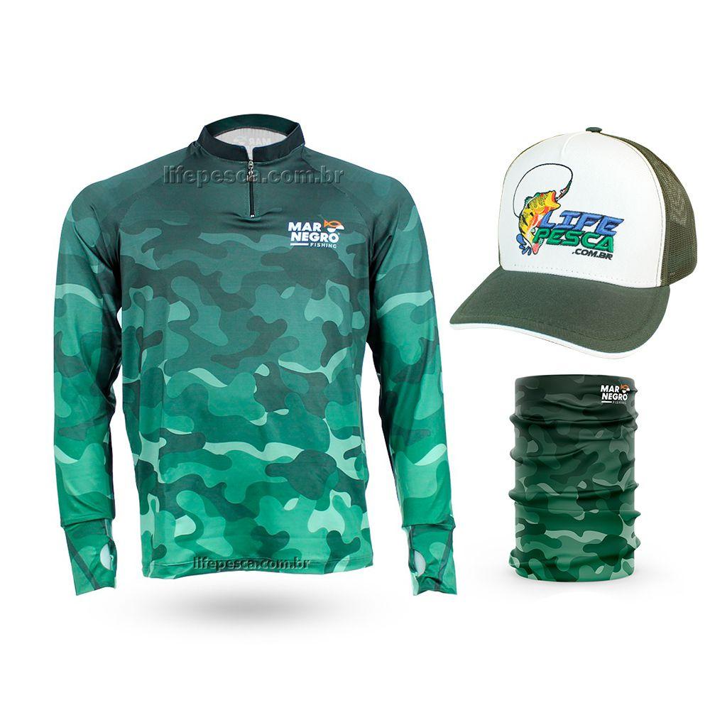 Camiseta de Pesca Mar Negro Proteção Solar 50+ UV Camuflada + Boné + Buff