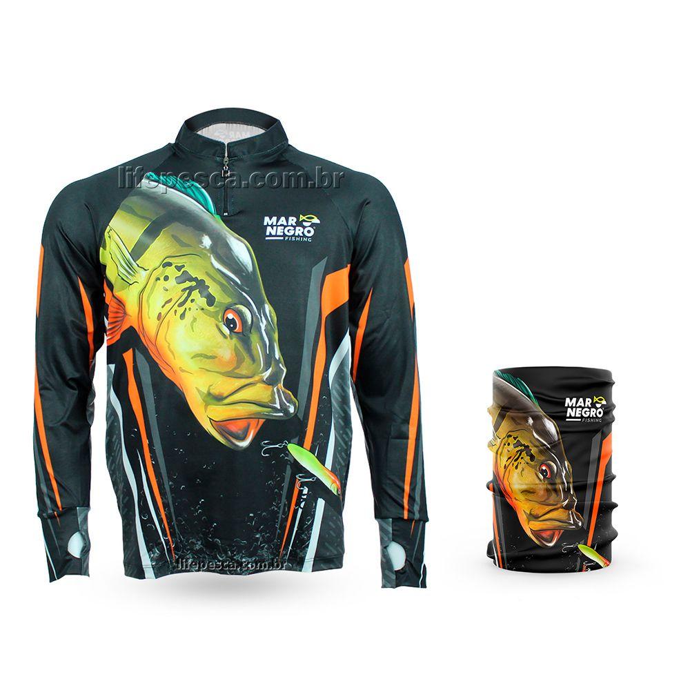 Camiseta de Pesca Mar Negro Proteção Solar 50+ UV Tucunaré Açu + Buff Tucunaré Açu
