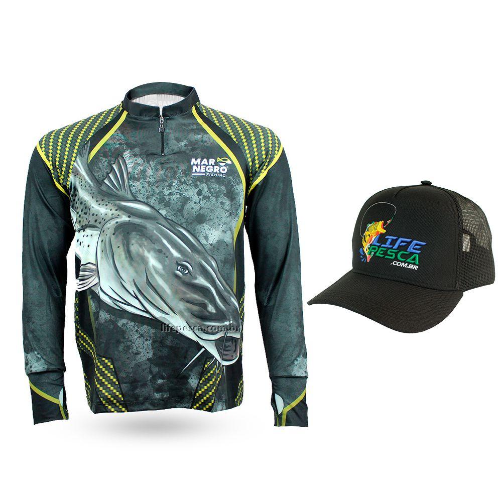 Camiseta de Pesca Mar Negro Proteção Solar 50+ UV Pintado + Boné Life pesca Preto