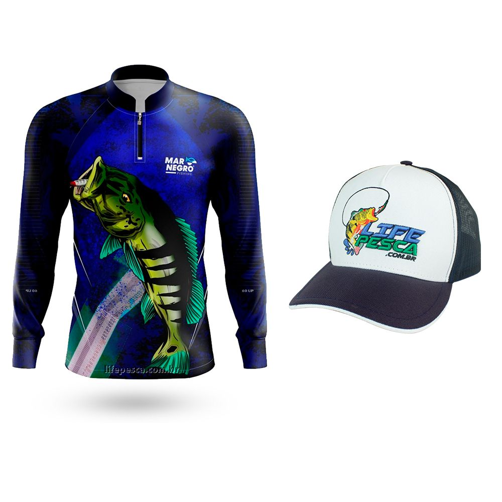Camiseta de Pesca Mar Negro Proteção Solar 50+ UV Tucunare 60UP  + Boné Life Pesca Azul