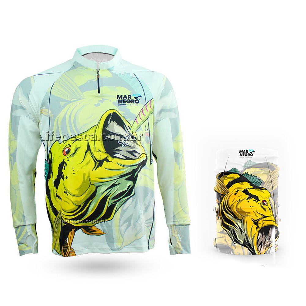 Camiseta de Pesca Mar Negro Proteção Solar 50+ UV Tucunaré Amarelo + Buff Tucunaré Amarelo