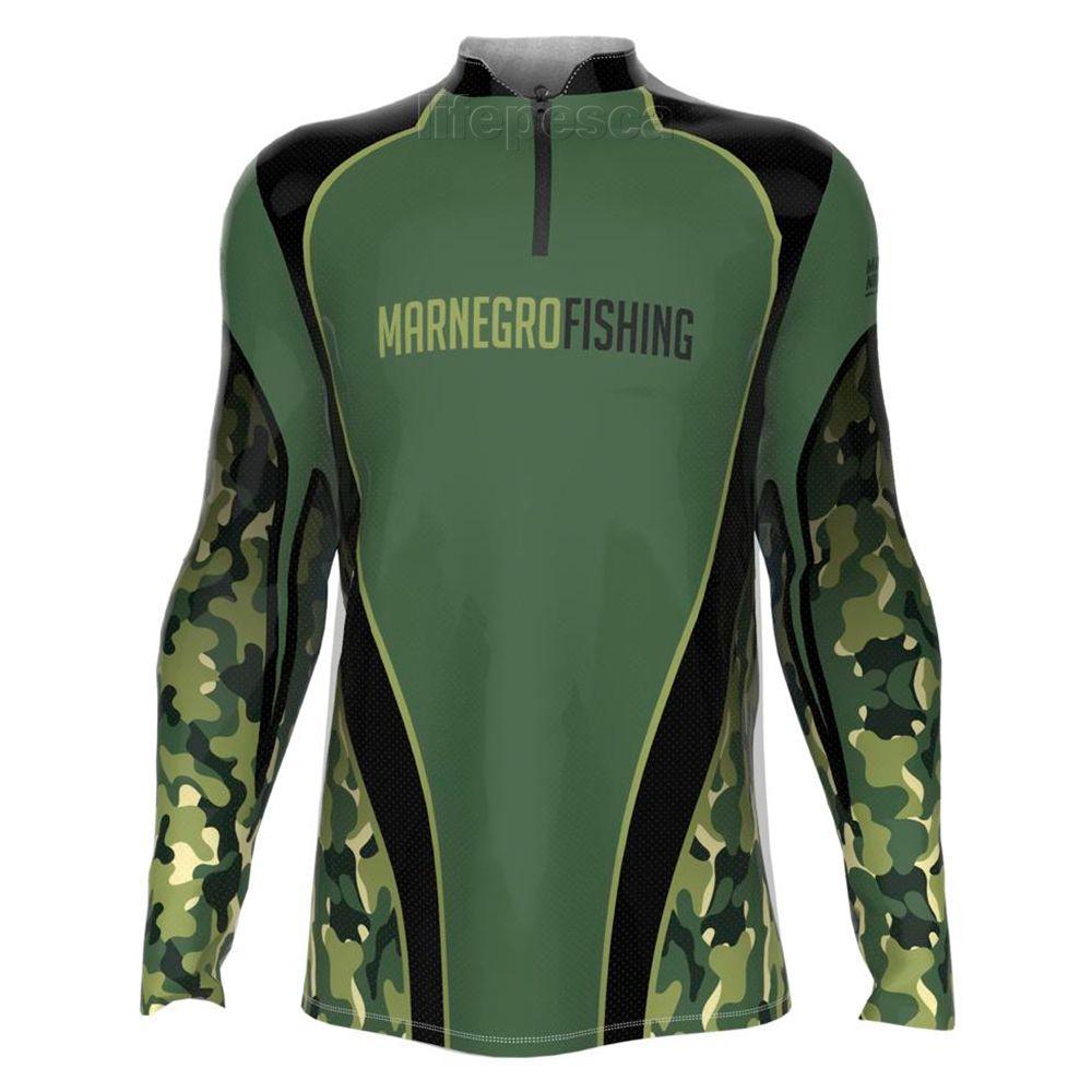 Camiseta de Pesca Masculino Proteção Solar 50+ UV Mar Negro - Clean Camuflada 2020