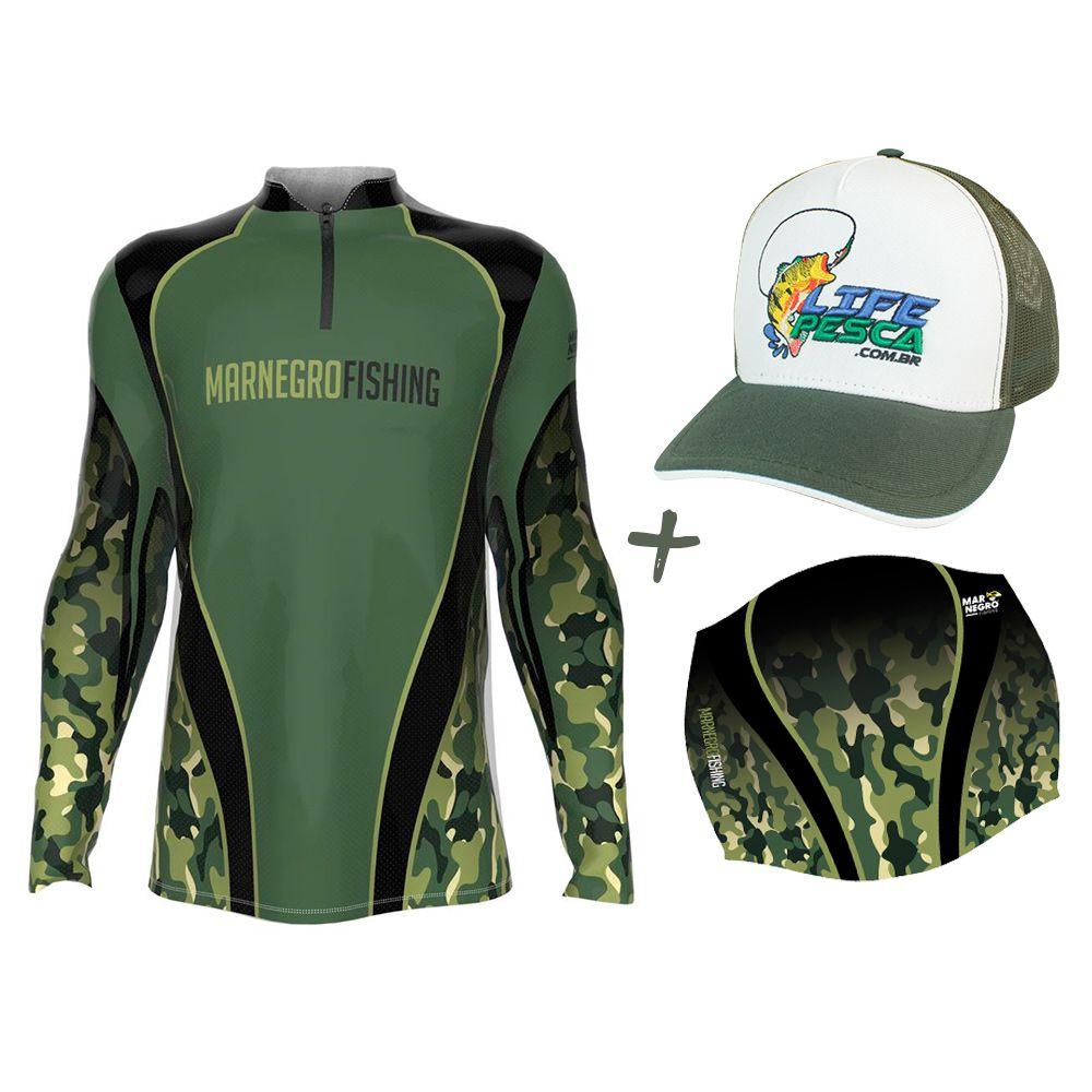Camiseta de Pesca Masculino Proteção Solar 50+ UV Mar Negro Clean Camuflada + Boné + Buff