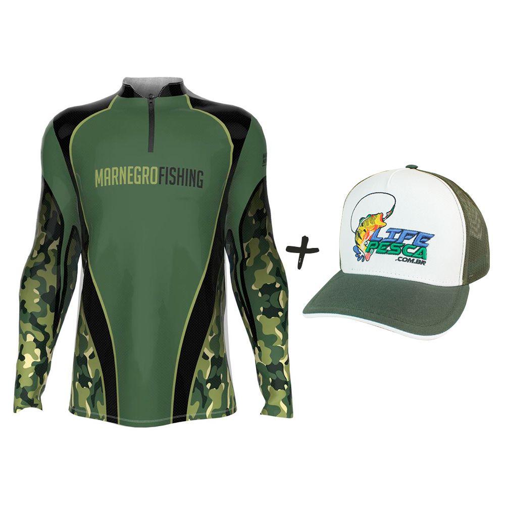 Camiseta de Pesca Masculino Proteção Solar 50+ UV Mar Negro Clean Camuflada + Boné Life Pesca Verde