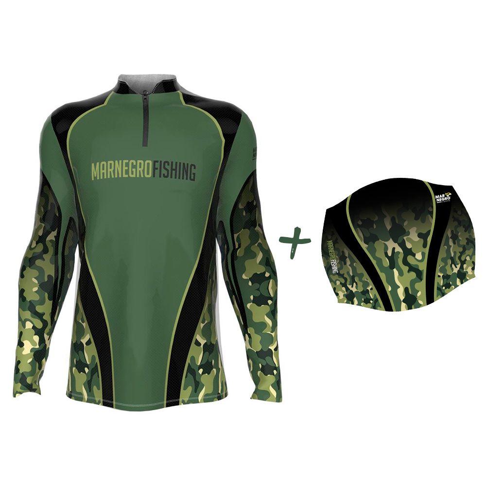 Camiseta de Pesca Masculino Proteção Solar 50+ UV Mar Negro Clean Camuflada + Buff Camuflado Verde