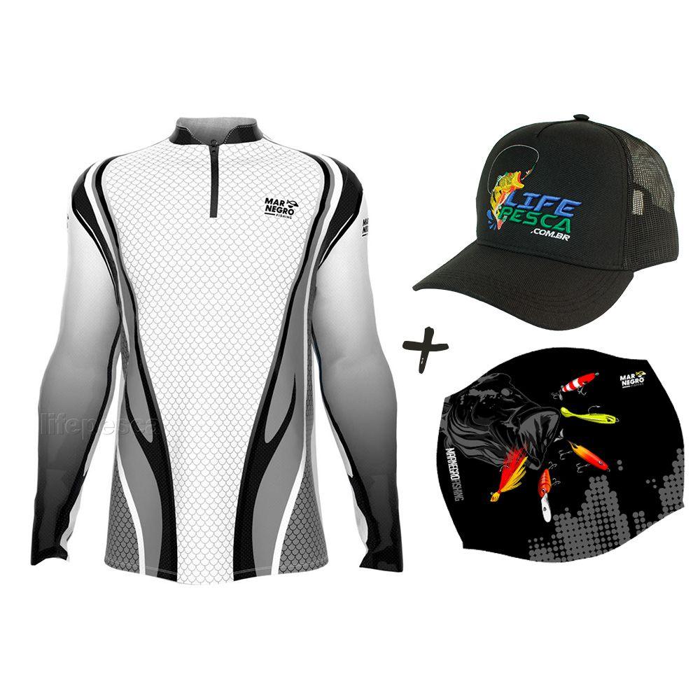 Camiseta de Pesca Masculino Proteção Solar 50+ UV Mar Negro Clean Cinza + Boné + Buff