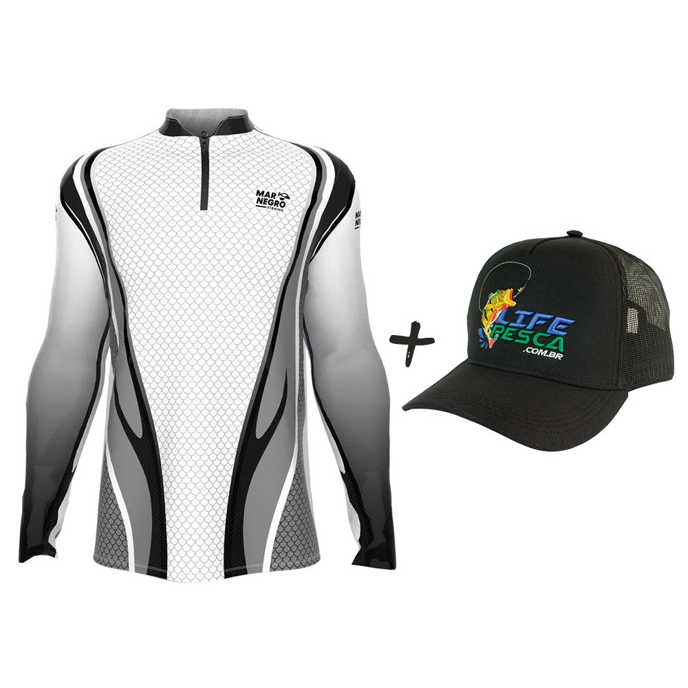 Camiseta de Pesca Masculino Proteção Solar 50+ UV Mar Negro Clean Cinza + Boné Life Pesca Preto