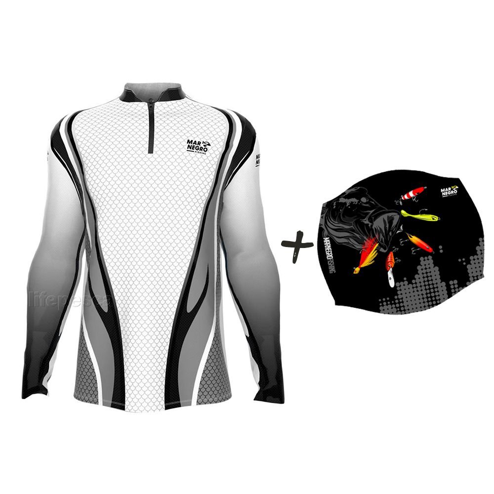 Camiseta de Pesca Masculino Proteção Solar 50+ UV Mar Negro Clean Cinza + Buff Isca