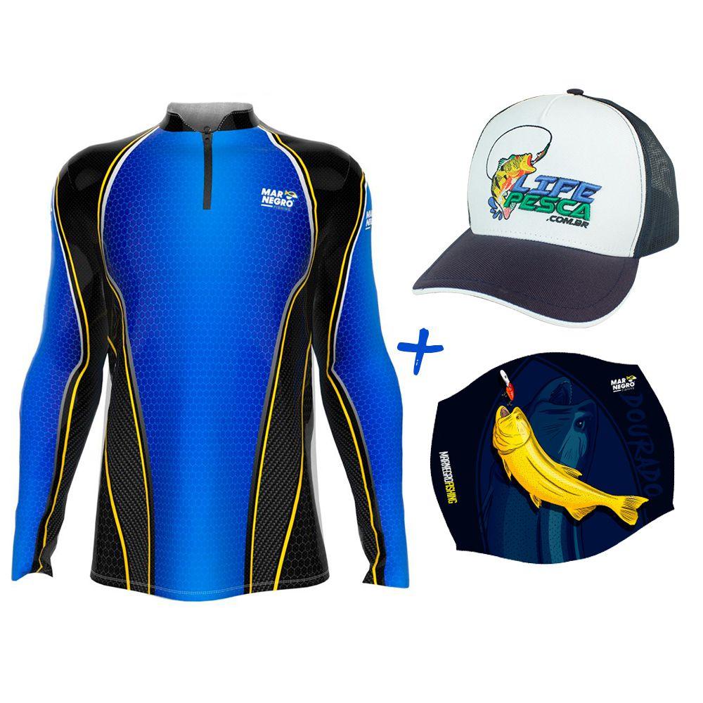 Camiseta de Pesca Masculino Proteção Solar 50+ UV Mar Negro Clean Colmeia + Boné + Buff