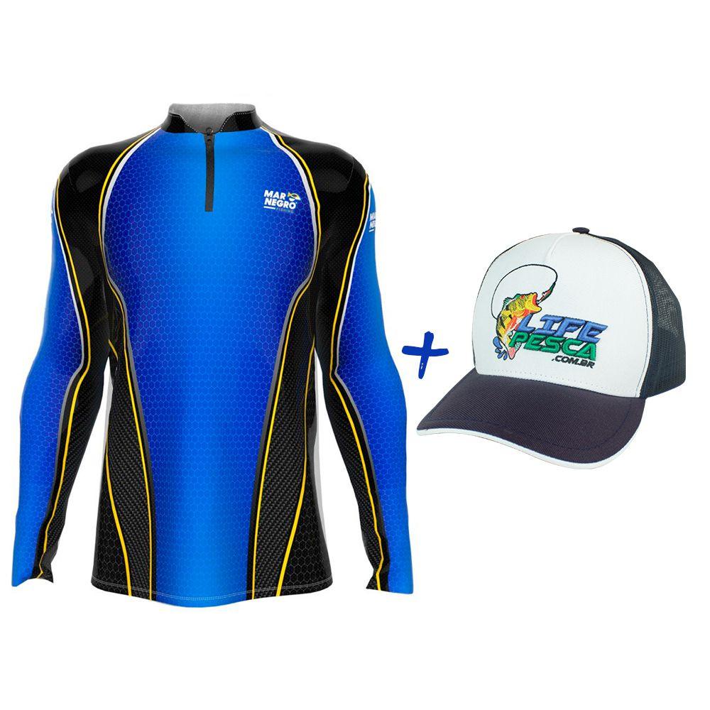 Camiseta de Pesca Masculino Proteção Solar 50+ UV Mar Negro Clean Colmeia + Boné Life Pesca Azul
