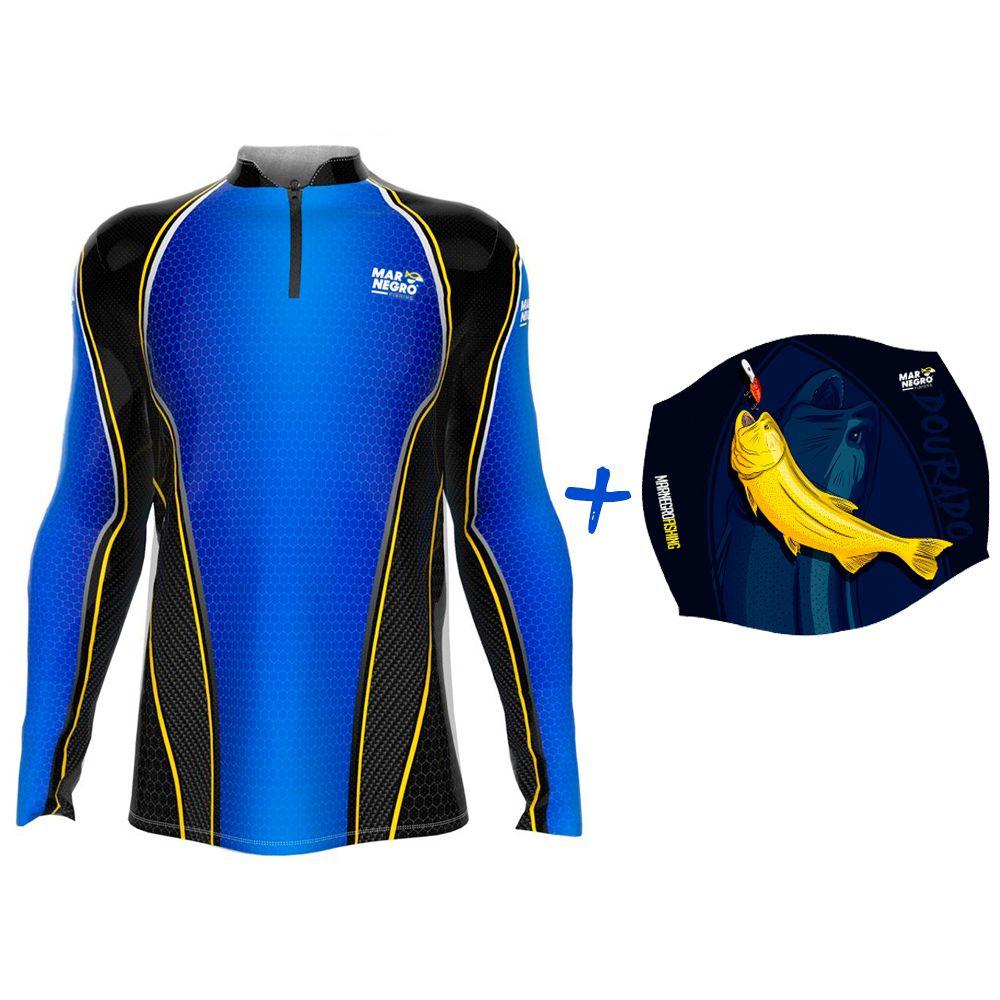 Camiseta de Pesca Masculino Proteção Solar 50+ UV Mar Negro Clean Colmeia + Buff Dourado
