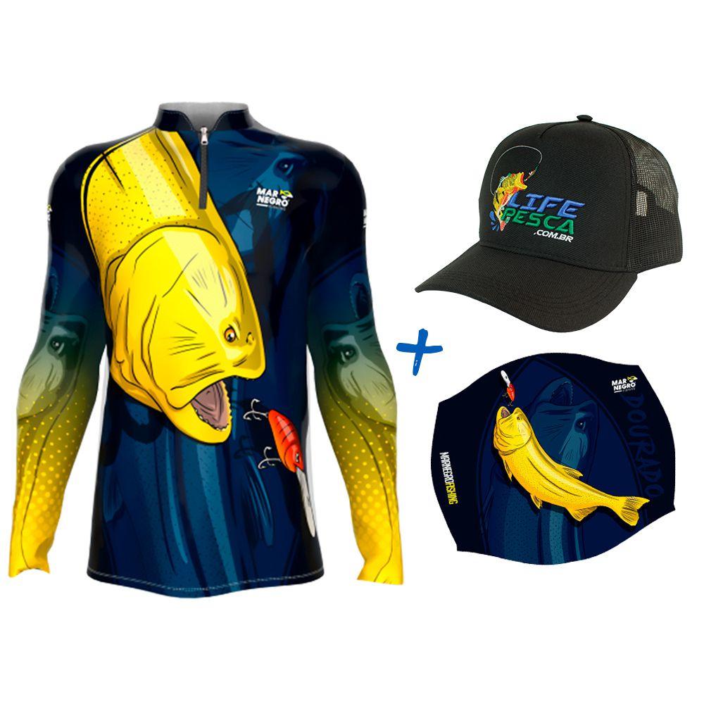 Camiseta de Pesca Masculino Proteção Solar 50+ UV Mar Negro Dourado + Boné + Buff