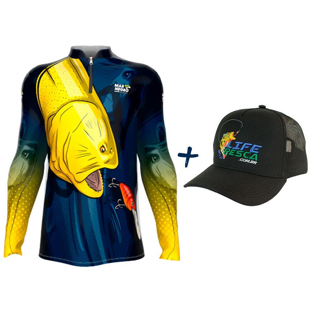 Camiseta de Pesca Masculino Proteção Solar 50+ UV Mar Negro Dourado + Boné Life Pesca Preto