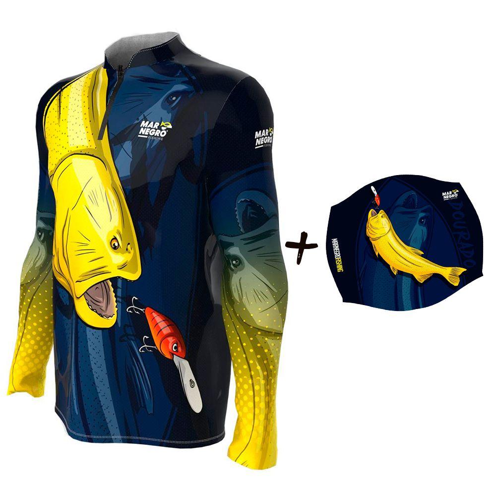 Camiseta de Pesca Masculino Proteção Solar 50+ UV Mar Negro Dourado + Buff Dourado