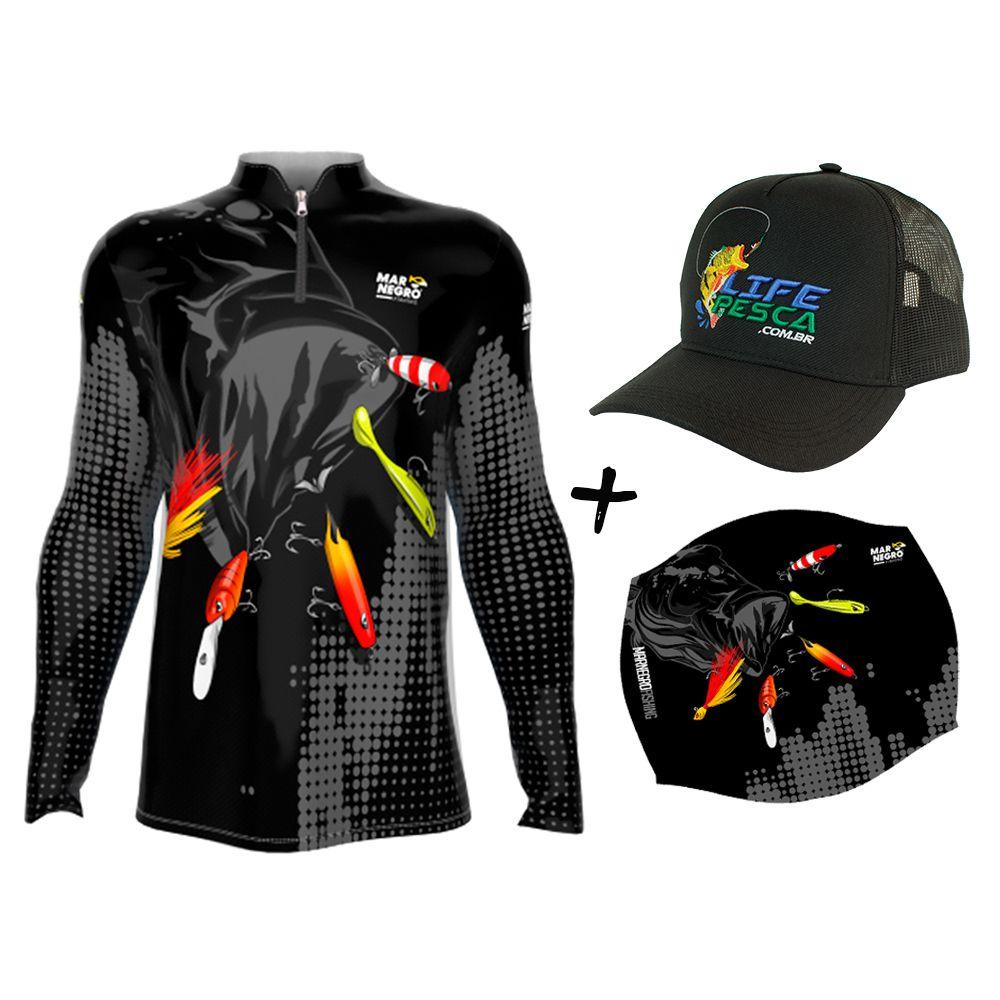 Camiseta de Pesca Masculino Proteção Solar 50+ UV Mar Negro Iscas + Boné + Buff