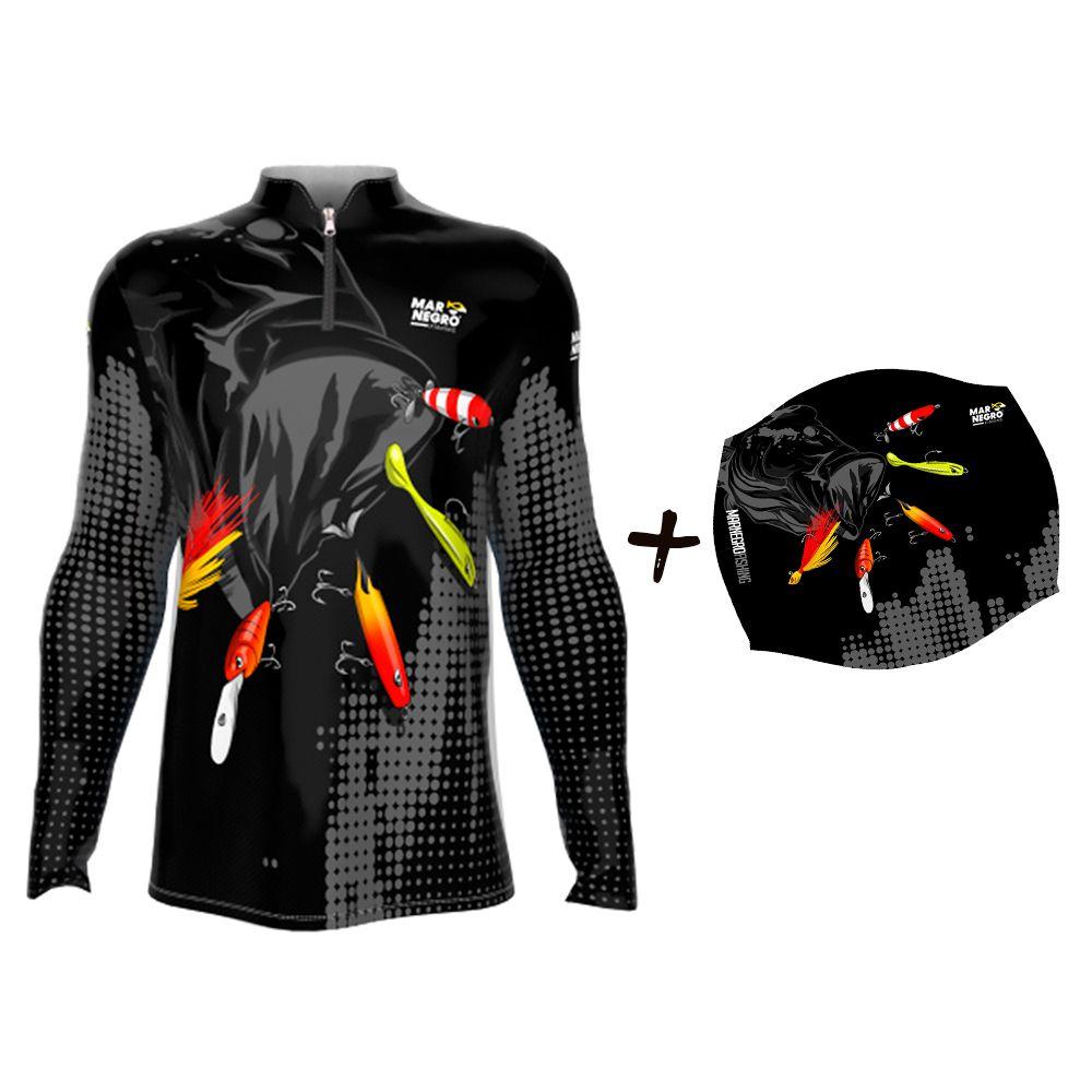 Camiseta de Pesca Masculino Proteção Solar 50+ UV Mar Negro Iscas - Buff Iscas