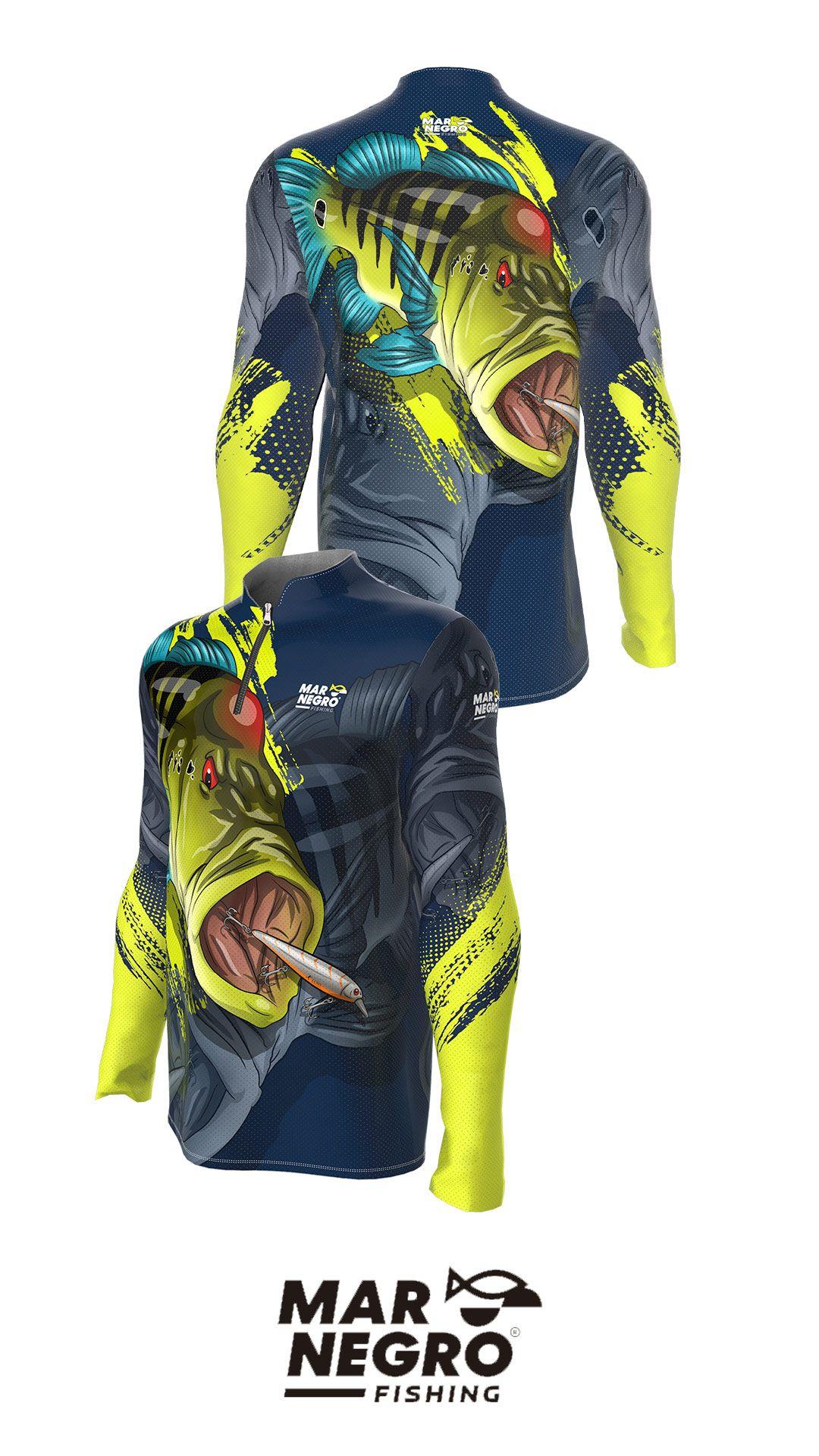 Camiseta de Pesca Masculino Proteção Solar 50+ UV Mar Negro - Modelos Coleção 2020