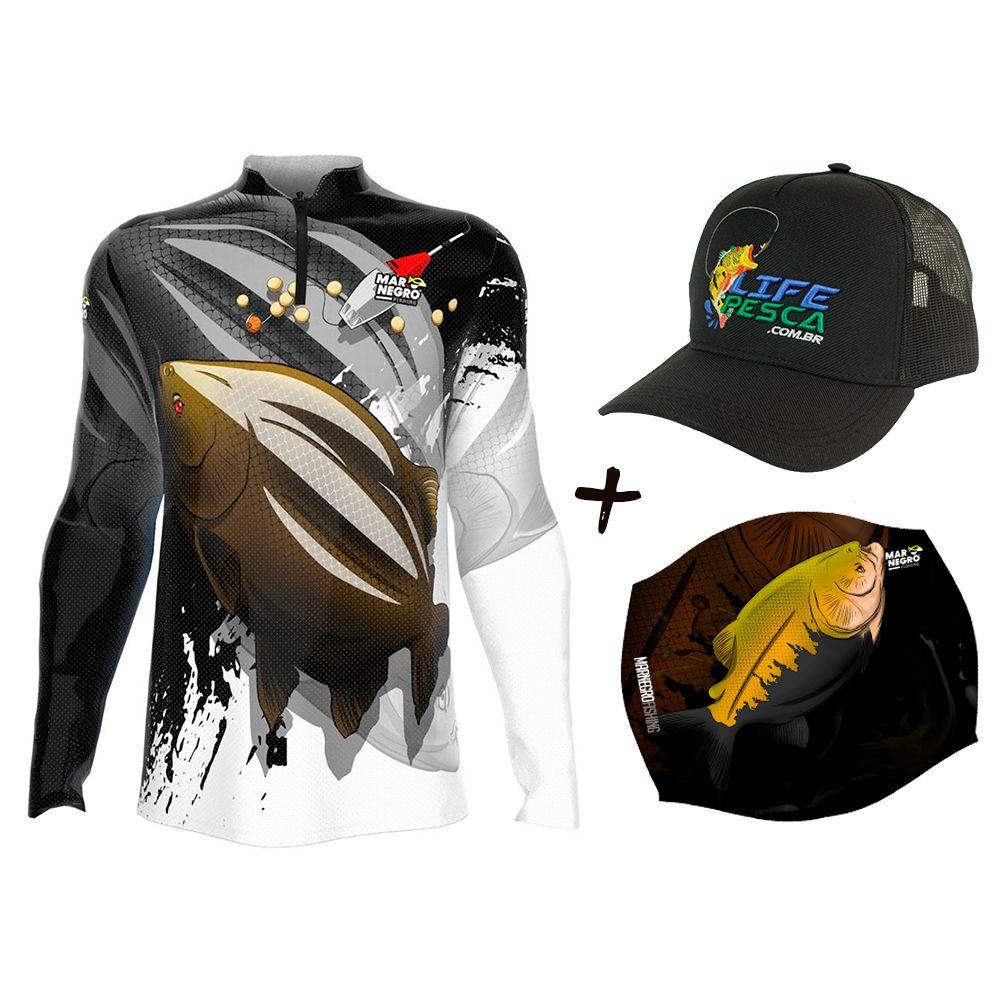 Camiseta de Pesca Masculino Proteção Solar 50+ UV Mar Negro Tambacu + Boné + Buff