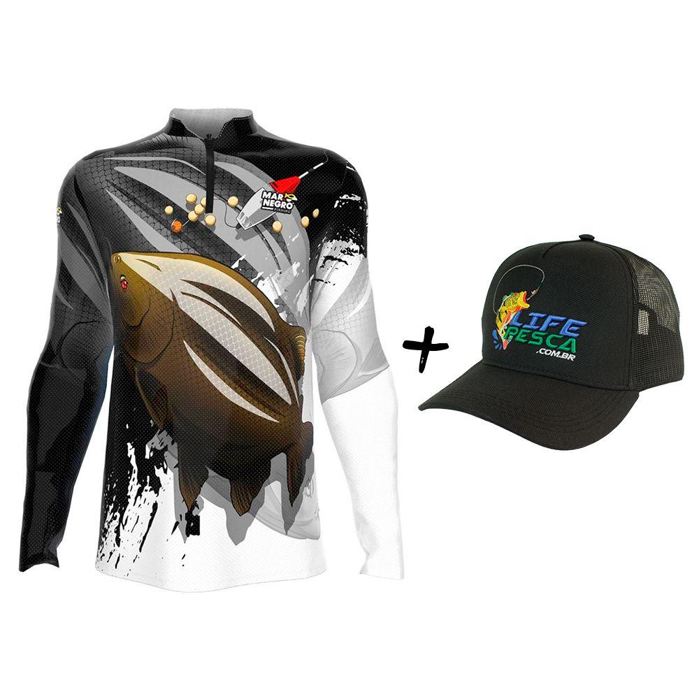 Camiseta de Pesca Masculino Proteção Solar 50+ UV Mar Negro Tambacu + Boné Life Pesca Preto