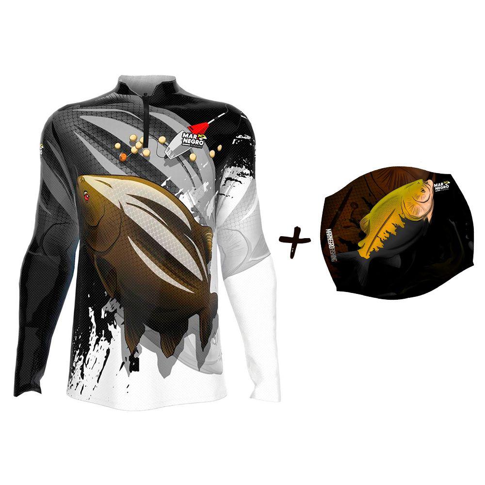 Camiseta de Pesca Masculino Proteção Solar 50+ UV Mar Negro Tambacu + Buff Tambaqui