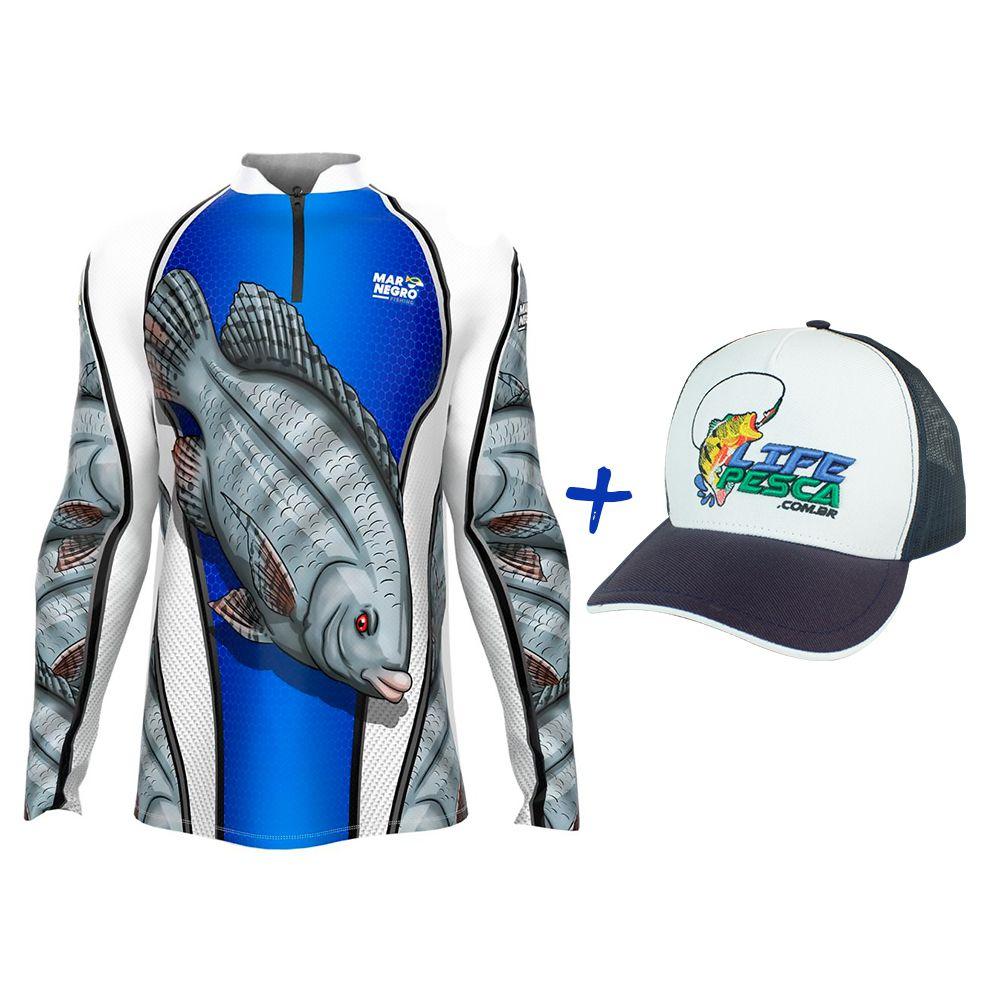 Camiseta de Pesca Masculino Proteção Solar 50+ UV Mar Negro Tilápia + Boné Life Pesca Azul