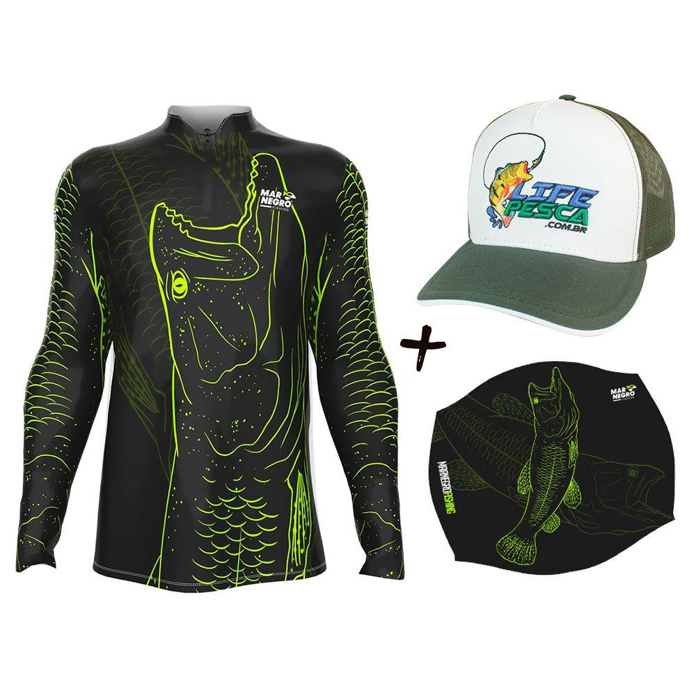 Camiseta de Pesca Masculino Proteção Solar 50+ UV Mar Negro Traira 1 + Boné + Buff