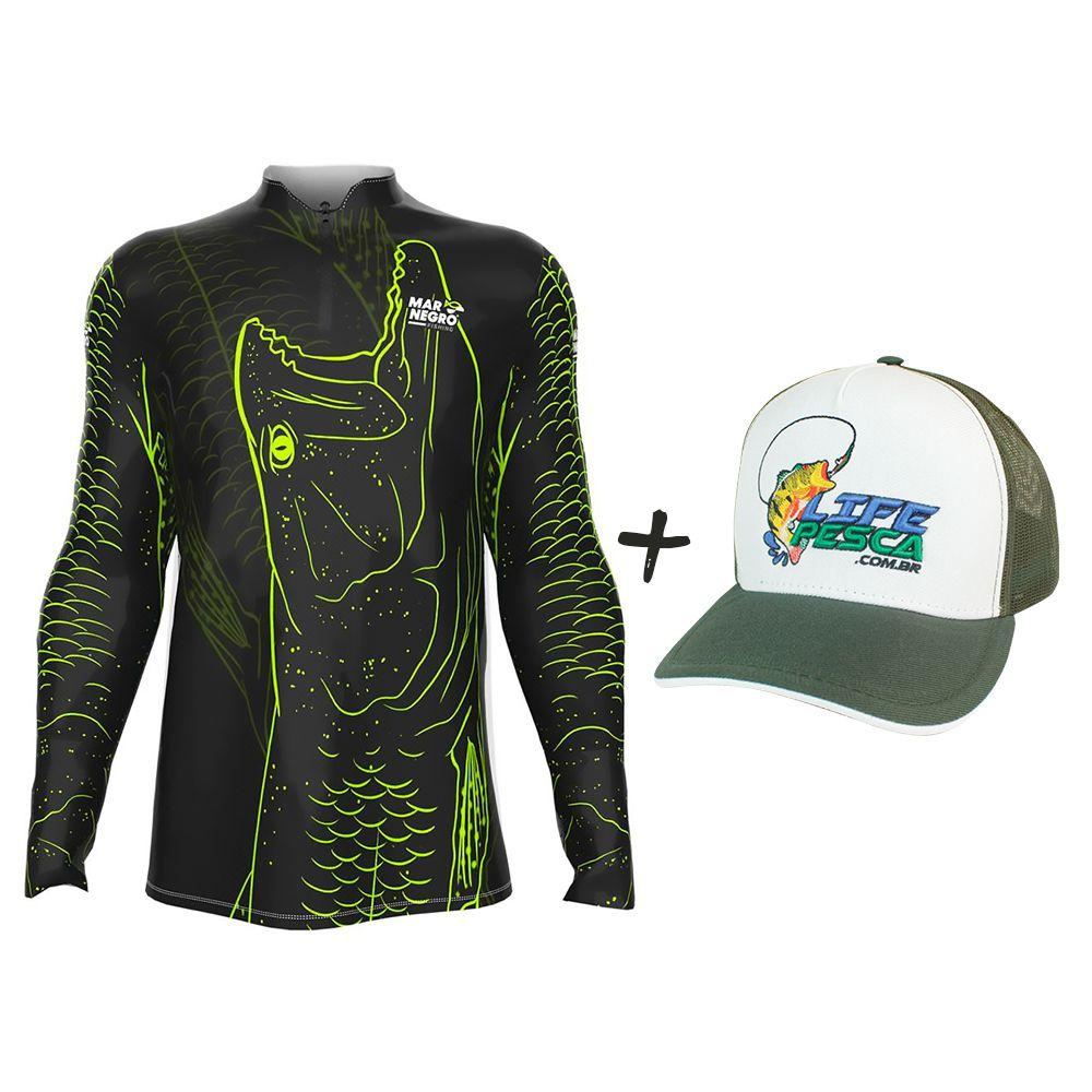 Camiseta de Pesca Masculino Proteção Solar 50+ UV Mar Negro Traira 1 + Boné Life Pesca Verde