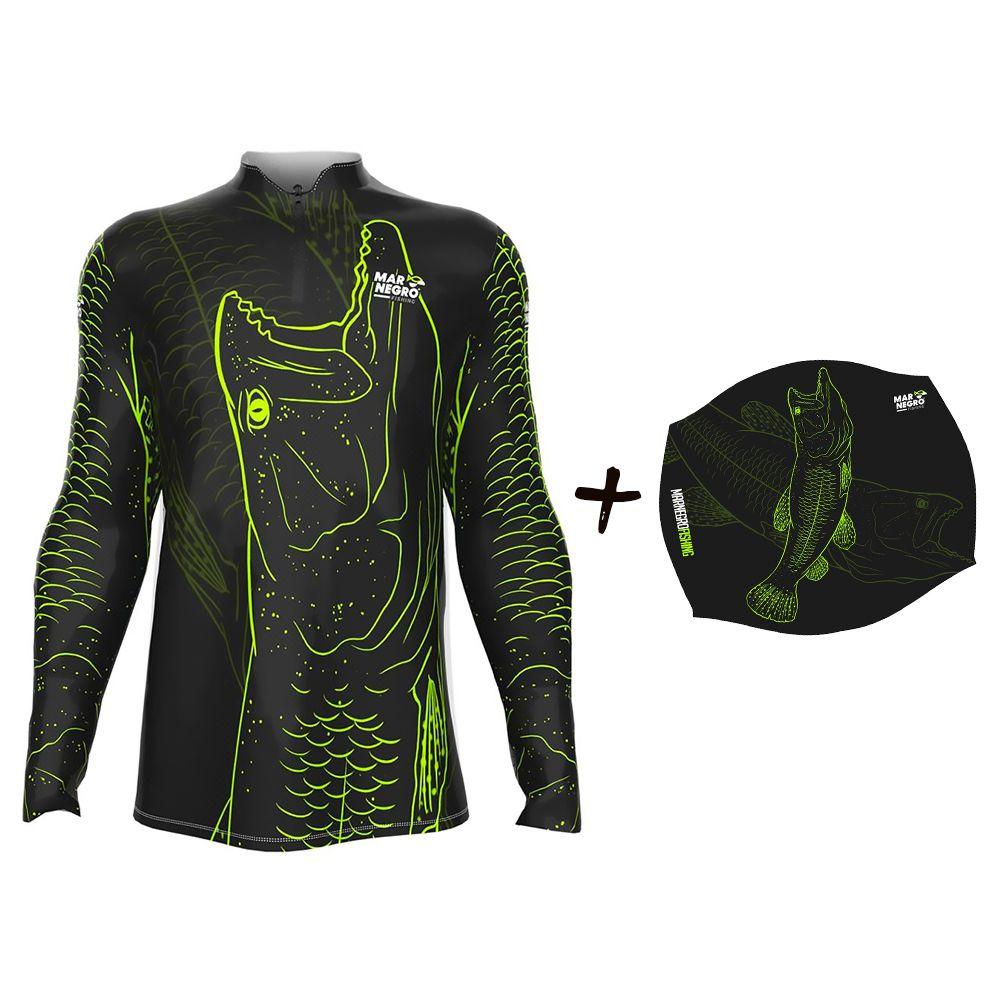 Camiseta de Pesca Masculino Proteção Solar 50+ UV Mar Negro Traira 1 + Buff Traira 1